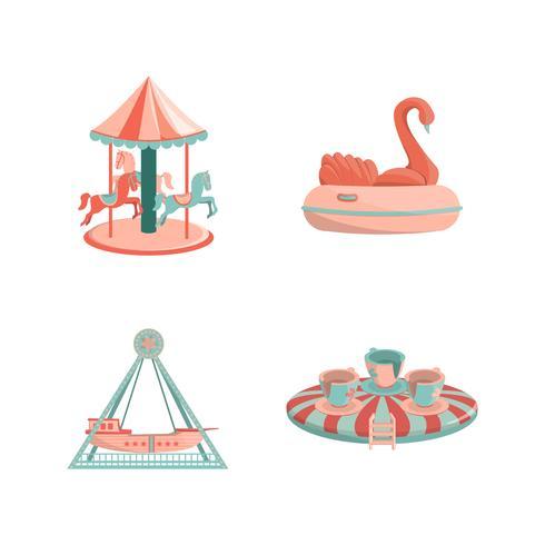 Set av tecknade nöjesfält rider ikoner vektor