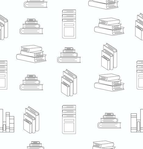 Stack böcker vita platta design sömlösa mönster vektor