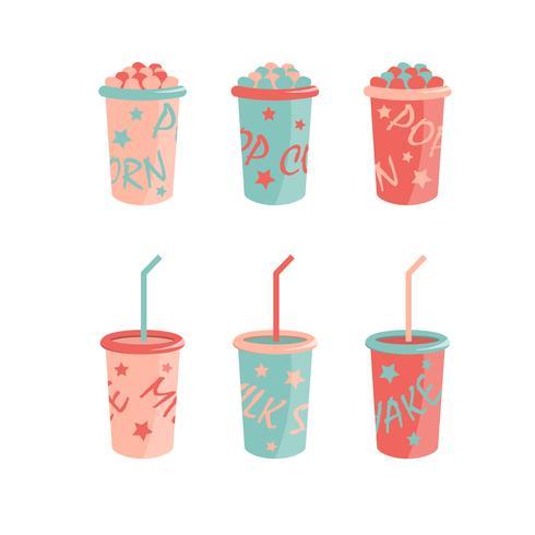 Tecknad ikoner. mjölk shakes och popcorn lådor vektor