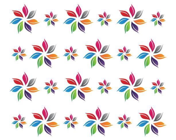 Blumenmuster Logo und Symbole weißen Hintergrund vektor
