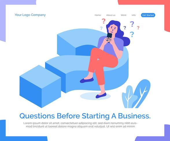Fragen vor der Gründung eines Unternehmens. vektor