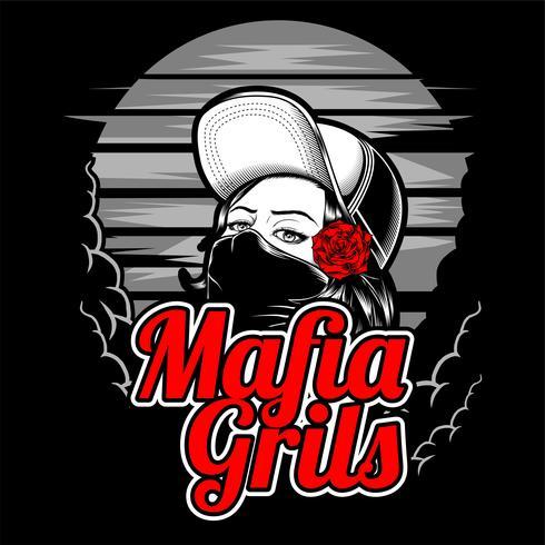 mafia tjej som bär hatt och ros .vector handritning, skjortedesigner, biker, diskjockey, gentleman, frisör och många others.olated och lätt att redigera. Vektor illustration - vektor