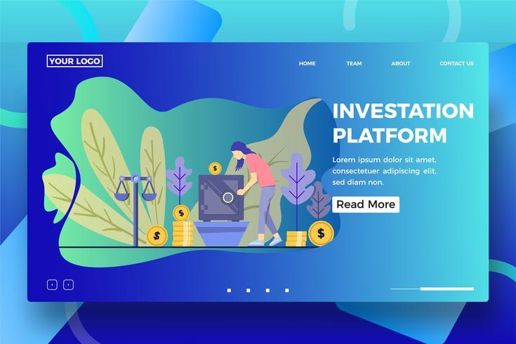 Vorlage für die Zielseite der Investitionsplattform vektor