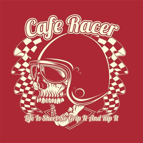 Schädel Helm Cafe Racer Hand Zeichnung Vektor