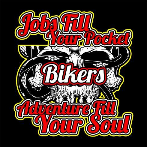 bikers citationstecken med skallehandritningsvektor vektor