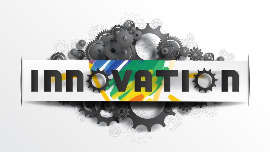 INNOVATIONS-Wort auf Papierschnittaufkleber vektor