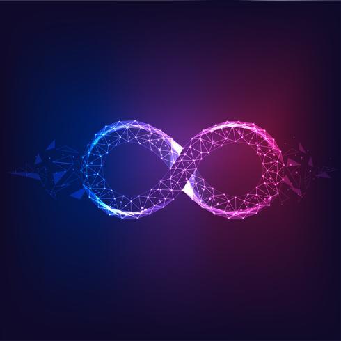 Futuristisk glödande låg polygonal lila till blå oändlighet symbol isolerad på mörk bakgrund. vektor