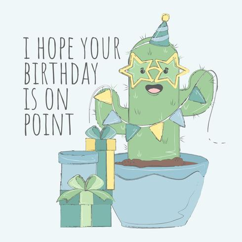 Cacti grattis på födelsedagskortet vektor