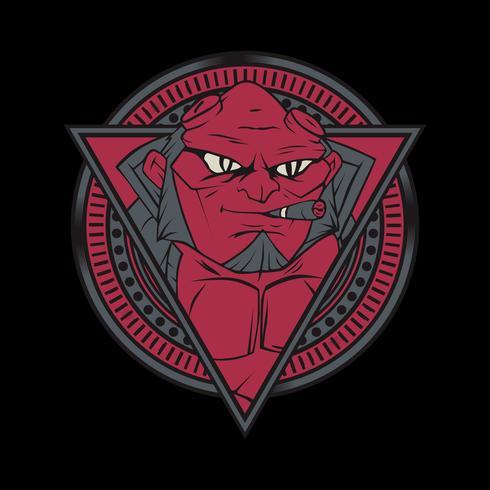 de röda djävlarna rökning .vector handritning, skjortedesigner, biker, diskjockey, gentleman, frisör och många andra .oliverad och enkel att redigera. Vektor illustration - vektor