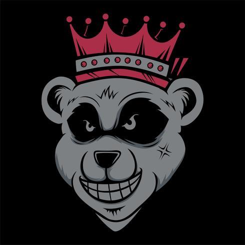 König Bär tragen Crownd Kopf Katze rauchen. Vektor Handzeichnung, Shirt Designs, Biker, Disk Jockey, Gentleman, Friseur und viele andere. Isoliert und einfach zu bearbeiten. Vektorabbildung - Vektor