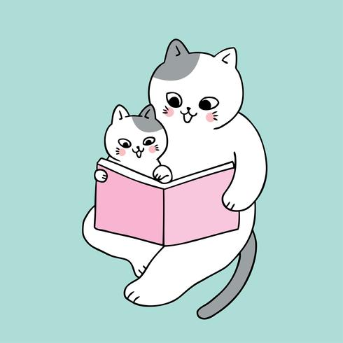 Netter Vati- und Babykatzenlesebuchvektor der Karikatur. vektor