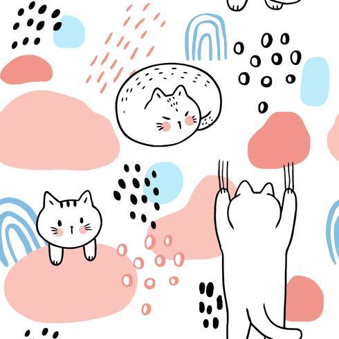 Nahtloser Mustervektor der netten süßen Katzen der Karikatur. vektor