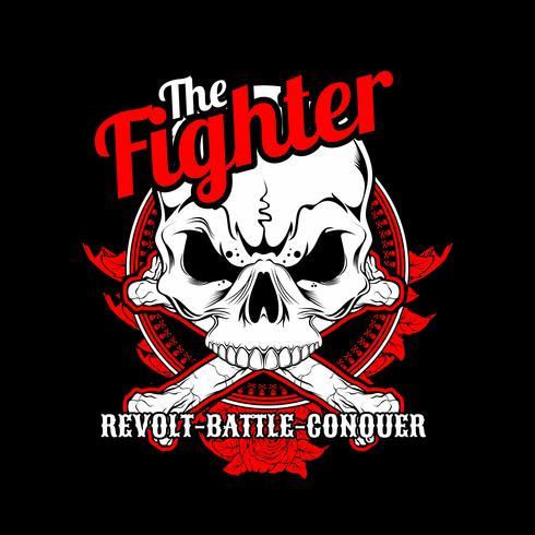 Der Fighter Skull Cross Bone. Vektor Handzeichnung, Shirt Designs, Biker, Disk Jockey, Gentleman, Barber und viele andere. Isoliert und einfach zu bearbeiten. Vektorabbildung - Vektor