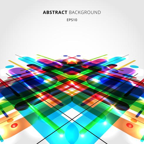 Sammanfattning rörelse dynamisk komposition gjord av olika färgglada rundade former linjer på perspektiv bakgrund. vektor