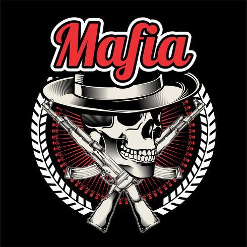 Mafiaboss mit zwei gekreuzten Maschinenpistolen. Symbol des Gewalt- und Verbrechenskonzeptes. Flache Designgrafiken Handzeichnung, - Vektor