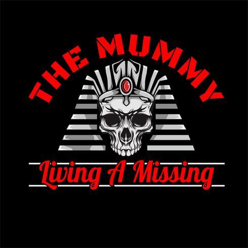 die Mumie Pharao Schädel Kopf Hand Zeichnung Vektor