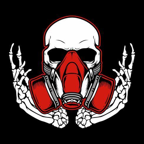 Graffitischädel mit Gasmaskenhandzeichnung, Hemddesignen, Radfahrer, Diskjockey, Herrn, Friseur und vielen anderen. isoliert und leicht zu bearbeiten. Vektorabbildung - Vektor