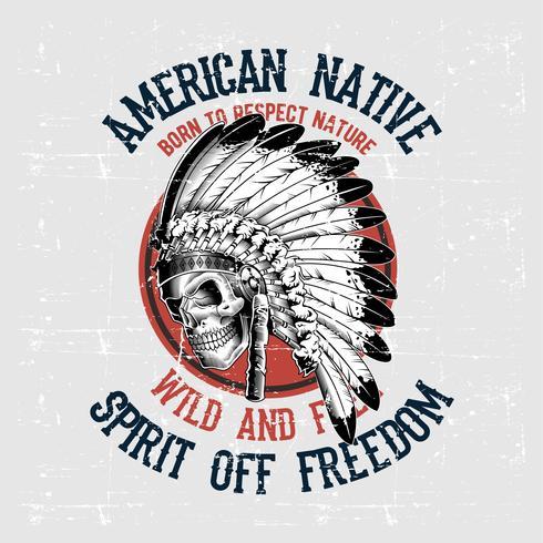 grunge stil skalle amerikanska infödda hand ritning vektor