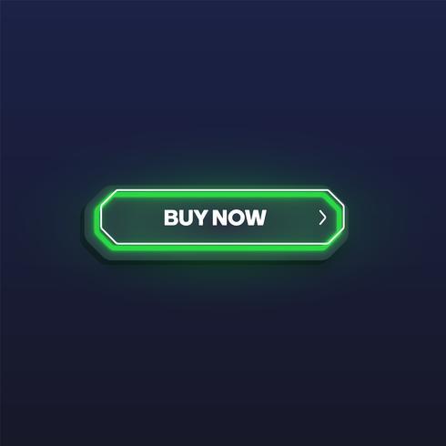 Färgglatt lysande neon knapp, vektor illustration