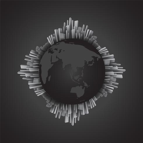 Abstraktes Schwarzweiss-Gebäude rund um den Globus vektor