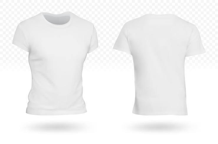 Vit T-shirt mall genomskinlig bakgrund vektor