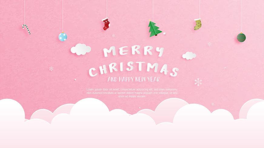 God jul och gott nytt år hälsningskort i pappersskuren stil. Vektor illustration Jul fest bakgrund. Banner, flyer, affisch, tapet, mall.