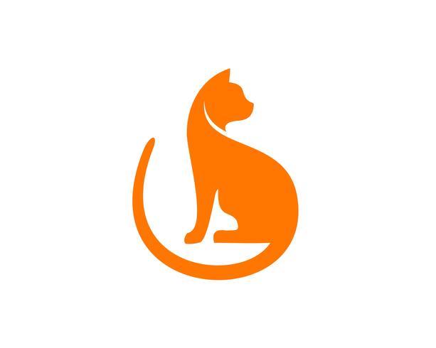 Katt platt logotyp vektor