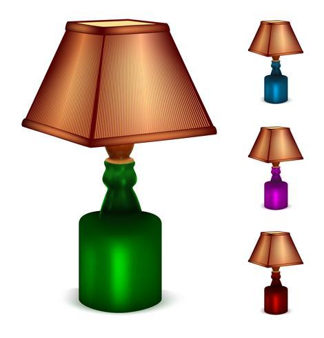 Multicolor uppsättning bordslampor vektor