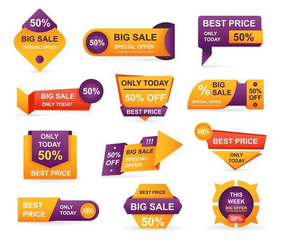 Sats på detaljhandelsmarkeringar. Klistermärken bästa erbjudande pris och stor försäljning prissättning märke märkesdesign. Begränsad försäljning erbjudande etikett eller butik rabatt banner kort isolerad. Shoppingkupong. Vektor illustration.