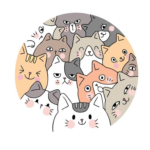 Tecknad gulligt ansikte katter vektor. Doodle cirkelram. vektor