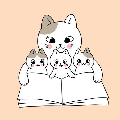 Tecknad gullig mamma och baby katt läser bok vektor. vektor