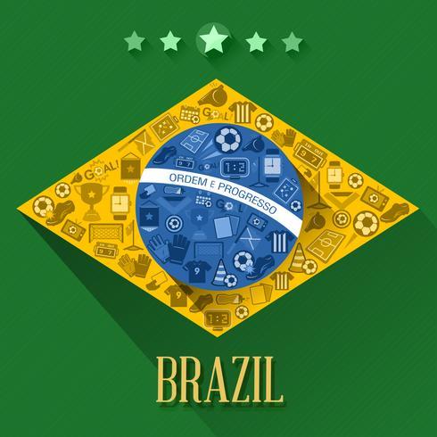 Brasilien Fußball Flaggensymbol vektor