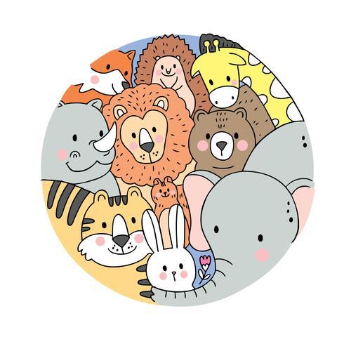 Tecknad gulligt ansikte djur djur vektor. Doodle cirkelram. vektor