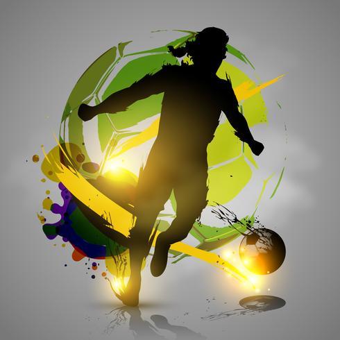 silhuett fotbollsspelare bläck splatters vektor