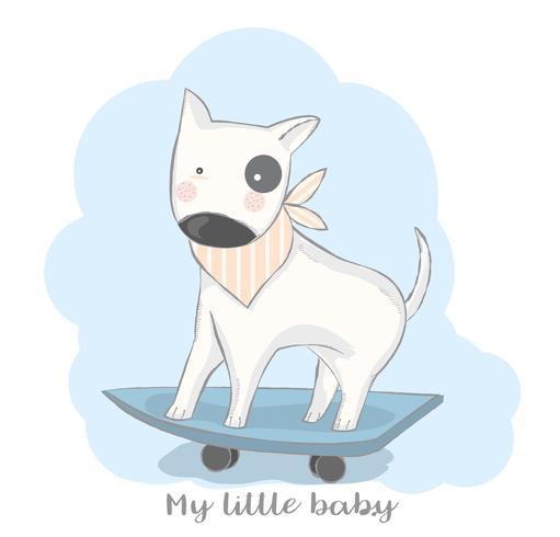 gezeichnete Art der netten Babyhundespiel-Skateboardkarikatur Hand Auch im corel abgehobenen Betrag vektor