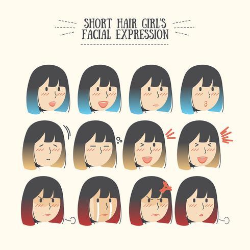 Gullig Kawaii Ombre Kort hårflicka med olika ansiktsuttryck Emoticon Set vektor