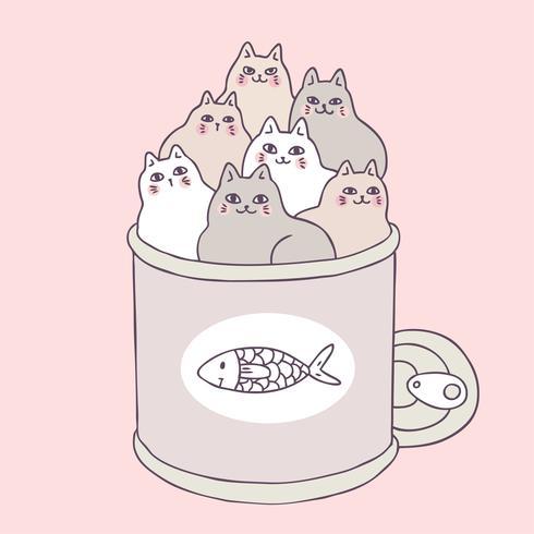 Nette Katzen und Lebensmittel der Karikatur können vector. vektor