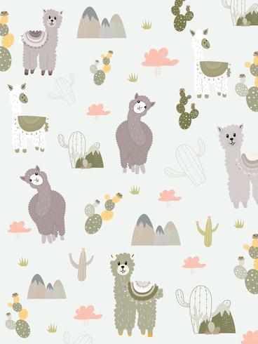 Llama och Cactus Clipart Bundle, No Drama Llamas Graphics Set. vektor