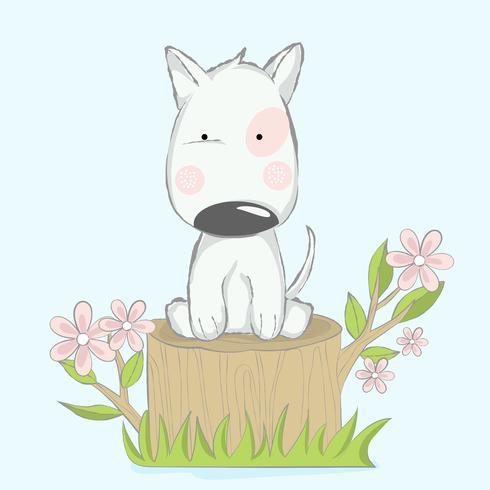söt älskling hund med trädtecknad handgjord stil.vector illustration vektor