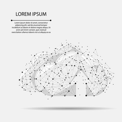Cloud Computing Onlinespeicher Low Poly bestehend aus Punkten, Linien und Formen. Polygonale zukünftige moderne Internet-Geschäftstechnologie. Verfügbarer Hintergrund des grauen globalen Dateninformationsaustauschs. Vektorgeschäftsabbildung. vektor