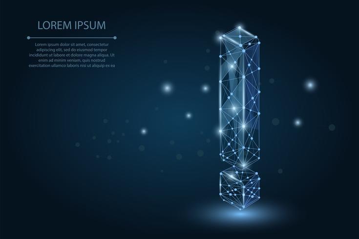 Abstrakt bild av ett utropstecken bestående av punkter, linjer och former. Vektor affärs illustration. Space poly, stjärnor och universum
