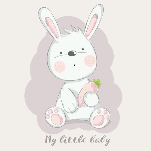 nettes Babykaninchen mit gezeichneter Art der Karottenkarikatur Hand Auch im corel abgehobenen Betrag vektor