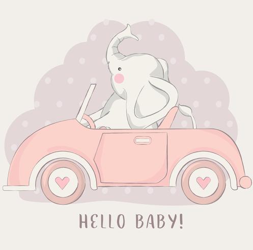 söt liten elefant med biltecknadstil vektor