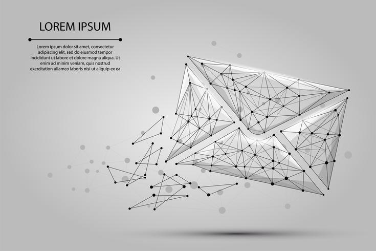 Meddelande. Polygonalt wireframe mesh kuvert från prickar och linjer. Låg poly Mail, Letter, email eller annan koncept vektor illustration
