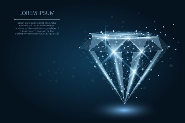 Abstrakt bild av en diamant bestående av punkter, linjer och former. Vektor affärs illustration. Space poly, stjärnor och universum