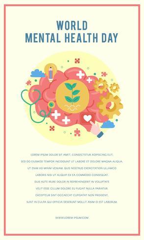 Weltplakat zum Tag der psychischen Gesundheit. Mentales Wachstum. Leeren Sie Ihren Geist. Positives Denken. Vektor - Illustration