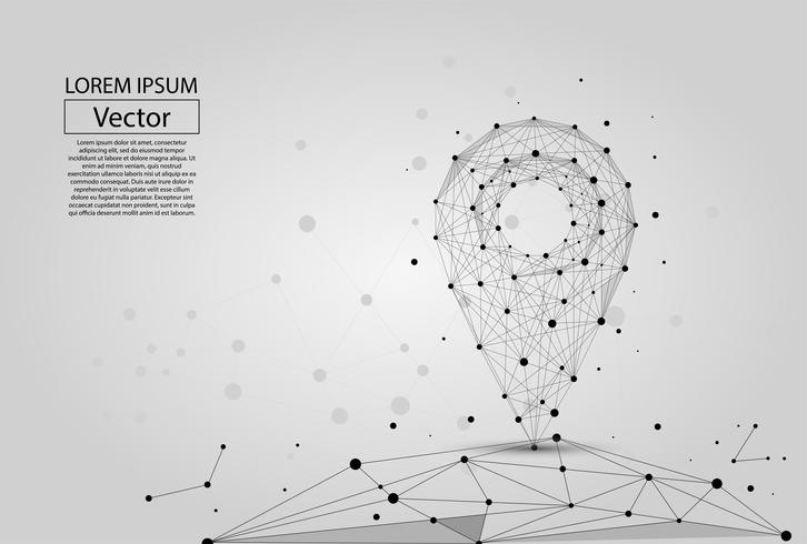 Abstrakt polygonal linje och punktstift på vit bakgrund ovanför kartan. Vektor affärsmassillustration.