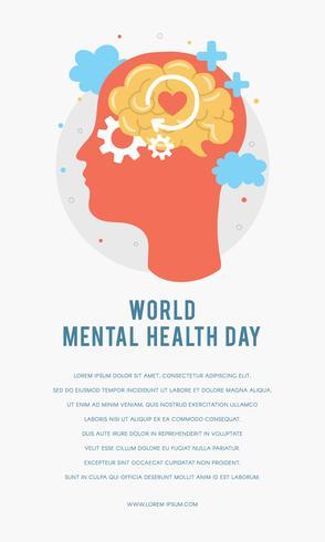 Welttag der psychischen Gesundheit Plakat Vorlage. Schattenbild des Kopfes eines Mannes mit Gehirn, Gang, Liebe. Mentales Wachstum. Leeren Sie Ihren Geist. Positives Denken. Vektor - Illustration