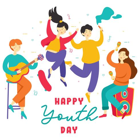 Alles Gute zum Internationalen Jugendtag. Jugendlich Leutegruppe verschiedene junge Mädchen und Jungen, die zusammen Hände halten, spielen Musik, Rochenbrett, Partei, Freundschaft. Vektor - Illustration