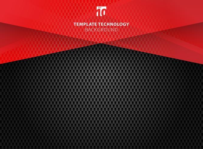 Abstrakt teknologi geometrisk röd färg glänsande rörelse kolfiberstruktur på mörk bakgrund. vektor